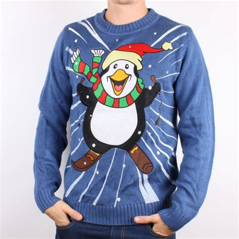 Limited Edition Blue Skiing Penguin Ugly Christmas Sweater