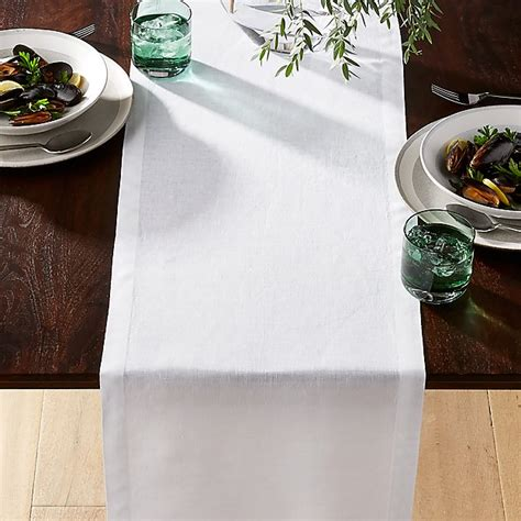Helena White Linen Table Runner + Reviews | Crate and Barrel