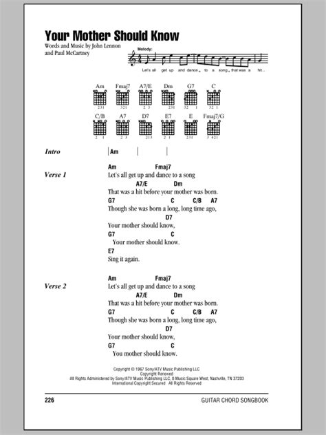 Your Mother Should Know by The Beatles - Guitar Chords