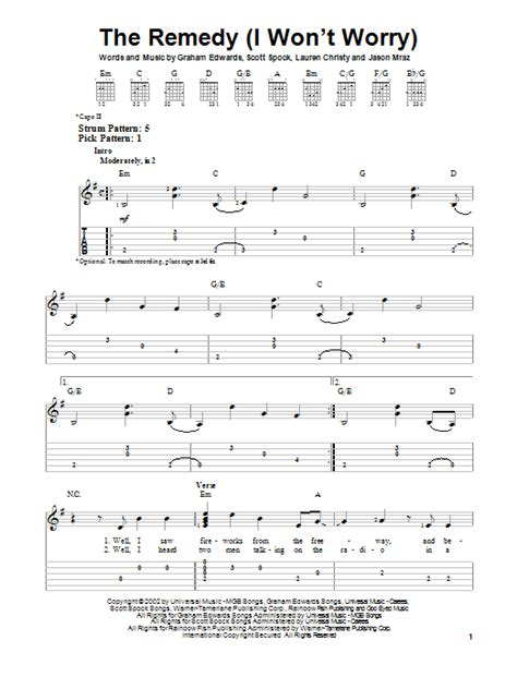 The Remedy (I Won't Worry) | Sheet Music Direct