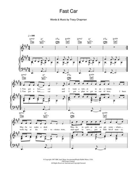 Fast Car sheet music by Tracy Chapman (Piano, Vocal