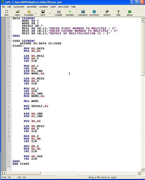 Assembly program to multiply two numbers and print result