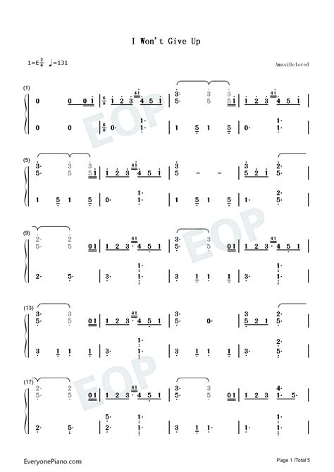 I Won't Give Up-Jason Mraz Numbered Musical Notation Preview