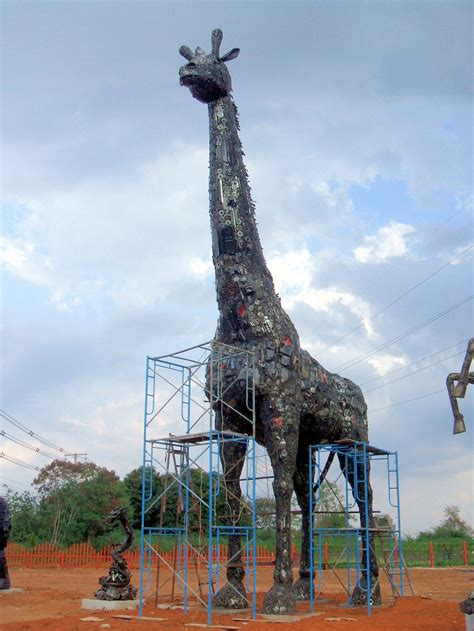 New Large Recycled Metal Sculpture - Giraffe - Custom - by